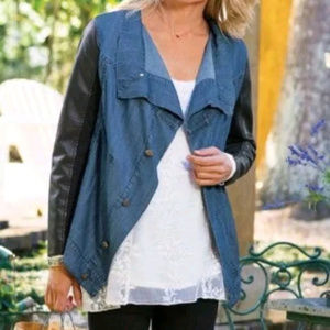 Soft Surroundings Faux Leather Soft Denim Jacket